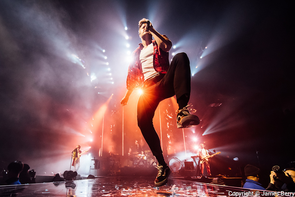 Imagine Dragons perform live at the first of two nights at the O2 Arena in London, on Wednesday 28 February 2018. Picture shows Dan Reynolds.