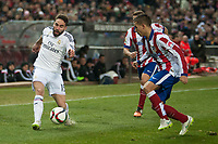 Atletico de Madrid's Lucas and Real Madrid's Daniel Carvajal during 2014-15 Spanish King Cup match at Vicente Calderon stadium in Madrid, Spain. January 07, 2015. (ALTERPHOTOS/Luis Fernandez)