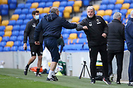 AFC Wimbledon manager Glyn Hodges greeting opponents during the EFL Sky Bet League 1 match between AFC Wimbledon and Bristol Rovers at Plough Lane, London, United Kingdom on 5 December 2020.