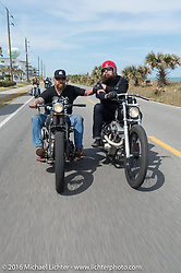 Bill Dodge with Jim Root from the Band Slipknot, both on Bill's Blings Cycles bikes, riding on highway A1A along the ocean from Flagler back to Daytona during Daytona Bike Week 75th Anniversary event. FL, USA. Thursday March 3, 2016.  Photography ©2016 Michael Lichter.