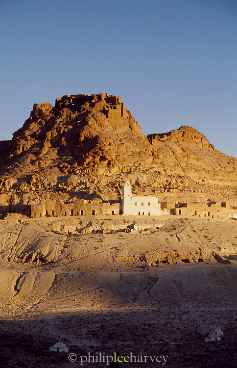 The ruins of the hilltop village Douiret, near the village of Tataouine in the south of Tunisia