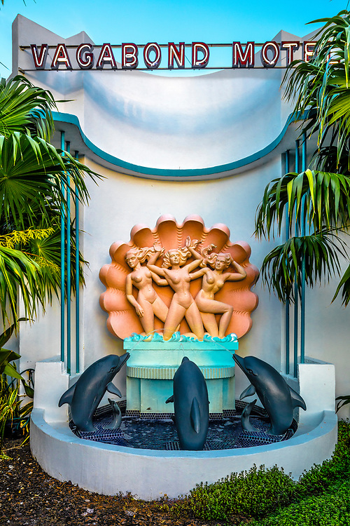 A spectacular fountain at the Miami Modern (MiMo) style Vagabond Motel built in 1953. The architect was Robert Swartburg, and the sculpture is by Jan Stacholy.