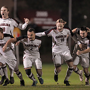 The South Carolina Gamecocks men's soccer team celebrates an NCCA tournament victory in Columbia, S.C. ©Travis Bell Photography