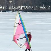 Ice sailing on Lake Quannapowitt, Wakefield, Massachusetts