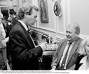 Kingsley Amis, and Martin Amis.A book launch at the Polish club 1991. film no91645f21 © Copyright Photograph by Dafydd Jones 66 Stockwell Park Rd. London SW9 0DA Tel 020 7733 0108 www.dafjones.com
