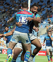 Rugby Union - 2020 / 2021 Gallagher Premiership - Round 22 - Wasps vs Leicester Tigers - Ricoh Stadium<br /> <br /> Matt Scott of Leicester celebrates his first half try with Zak Henry<br /> <br /> Credit : COLORSPORT/Andrew Cowie