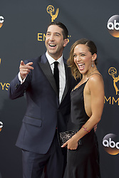 September 18, 2016 - Los Angeles, California, U.S. - DAVID SCHWIMMER and wife ZOE BECKMAN arrive for the 68th Annual Primetime Emmy Awards, held at the Nokia Theatre. (Credit Image: © Kevin Sullivan via ZUMA Wire)