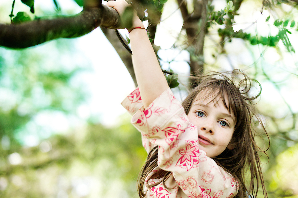 A young girl playing outside swings on a tree branch.