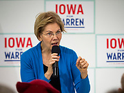 26 NOVEMBER 2019 - KNOXVILLE, IOWA: US Senator ELIZABETH WARREN (D-MA) talks to a crowd of about 90 people during a campaign event in Knoxville Tuesday. Sen. Warren hosted a community meeting at the Sprint Car Hall of Fame and Museum in Knoxville, IA. She is running to be the Democratic candidate for the US Presidency in the 2020 election. Iowa hosts the first selection event of the presidential election season. The Iowa caucuses are February 3, 2020.                  PHOTO BY JACK KURTZ
