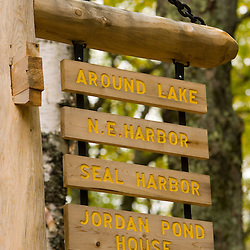 A darriage road sign in Maine's Acadia National Park.