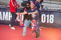 Atletico de Madrid Koke Resurreccion and Mono Burgos celebrating Europa League Championship at Neptune Fountain in Madrid, Spain. May 18, 2018. (ALTERPHOTOS/Borja B.Hojas)