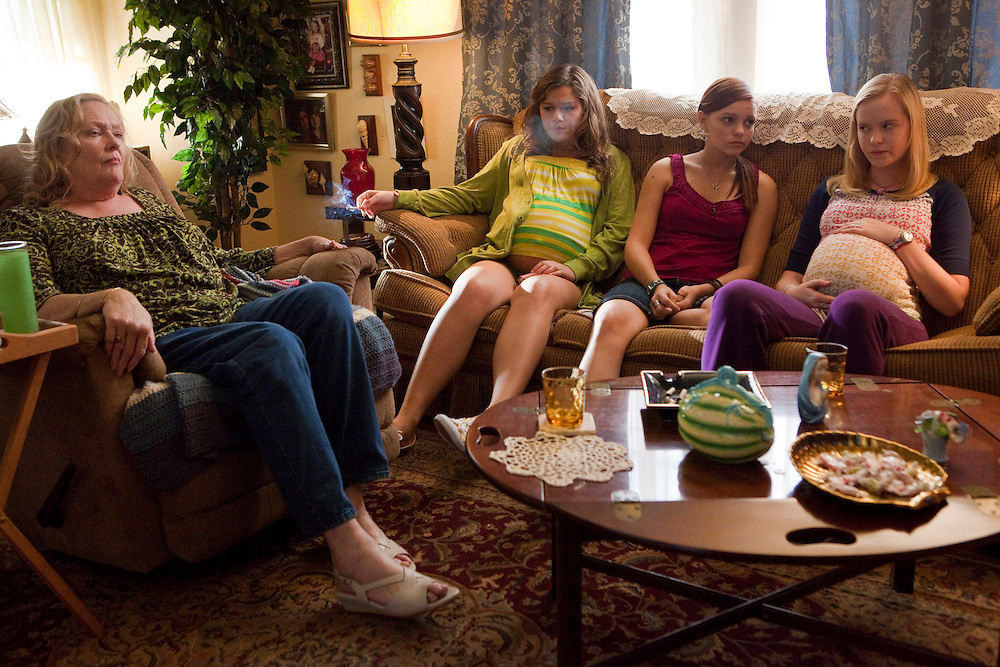 Jan Chategnier, Kelly Heyer, Michelle DeFraites, and Jenna Hall in the Lifetime Television Original Movie 'The Pregnancy Pact,' loosely based on the 2008 Gloucester High School case.