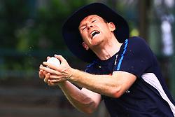 October 4, 2018 - Colombo, Sri Lanka - England ODI cricket captain Eoin Morgan completes a catch during a practice session at P.Sara Oval cricket ground, Colombo, Sri Lanka. 10-04-2018  (Credit Image: © Tharaka Basnayaka/NurPhoto/ZUMA Press)
