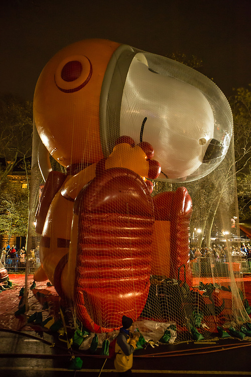 New York, NY – 27 November 2019. Thousands of spectators packed the streets around the American Museum of Natural History to see the inflation area for the balloons for Macy's Thanksgiving Day Parade. Astronaut Snoopy is covered in netting and held down with weight bags.