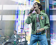 WASHINGTON, DC - May 21st, 2019 - George Daniel and Matt Healy of The 1975 perform at The Anthem in Washington, D.C. The band's third studio album, A Brief Inquiry into Online Relationships, was released late last year and  reached number one in the UK and number four in the US.  (Photo by Kyle Gustafson / For The Washington Post)