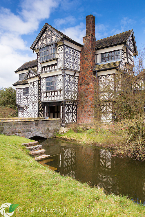 With the earliest parts of the property built between 1504 and 1508, Little Moreton Hall, near Congleton, Cheshire, is probably one of the finest examples of a medieval moated, half-timbered manor house in England.  Photographed in April.