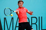David Goffin of Belgium in action during the Mutua Madrid Open 2018, tennis match on May 9, 2018 played at Caja Magica in Madrid, Spain - Photo Oscar J Barroso / SpainProSportsImages / DPPI / ProSportsImages / DPPI
