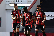 Goal 2-1 scored by Jefferson Lerma (8) of AFC Bournemouth who celebrates with Steve Cook (3) of AFC Bournemouth and Lloyd Kelly (5) of AFC Bournemouth during the EFL Sky Bet Championship match between Bournemouth and Blackburn Rovers at the Vitality Stadium, Bournemouth, England on 12 September 2020.