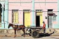 Man with horse and cart in Manzanillo, Granma, Cuba.