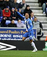 Photo: Paul Greenwood/Sportsbeat Images.<br />Wigan Athletic v Blackburn Rovers. The FA Barclays Premiership. 15/12/2007.<br />Wigan's Denny Landzaat celebrates scoring the opening goal