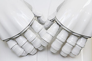 The hands of Pepper robot, Kanagawa, Japan Thursday May 24th 2018.  At the end of June 2021 the Softbank company announced it was cutting jobs in its global robotics business and had stopped production of the Pepper robot.