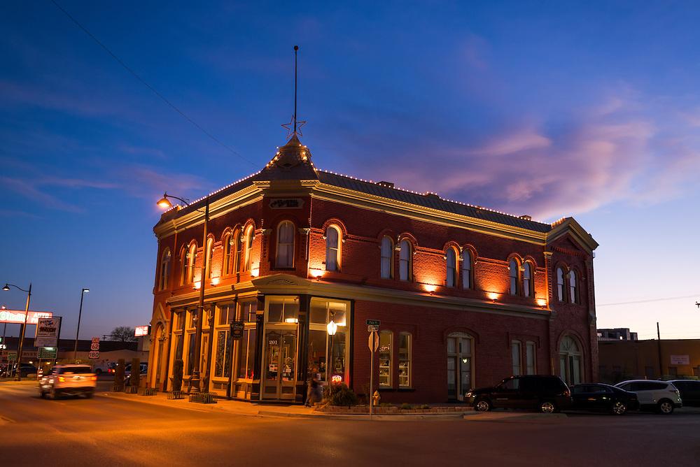 Trinity Hotel at sunset, Carlsbad, New Mexico.