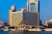The Sheraton Deira Hotel Dubai on the Deira side from across Dubai Creek, Dubai, United Arab Emirates