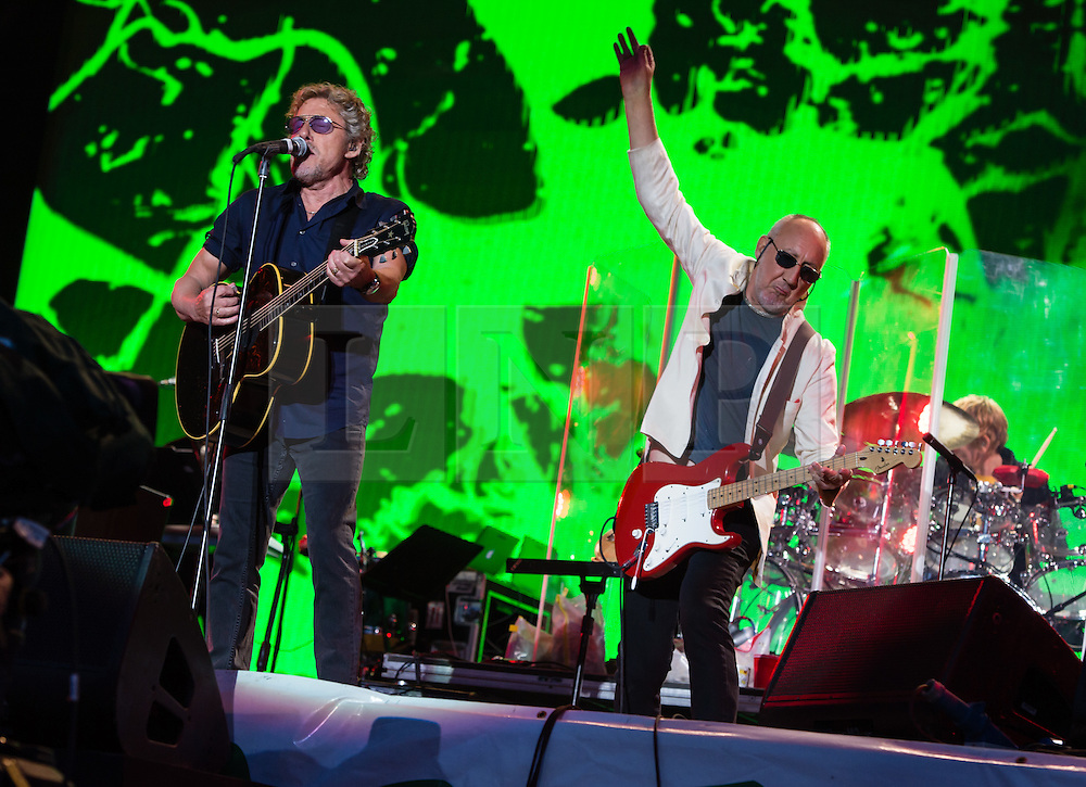© Licensed to London News Pictures. 28/06/2015. Pilton, UK. The Who performing at Glastonbury Festival 2015 on Sunday Day 5 of the festival on the The Pyramid Stage stage.  This years headline acts include Kanye West, The Who and Florence and the Machine, the latter being upgraded in the bill to replace original headline act Foo Fighters.  Photo credit: Richard Isaac/LNP