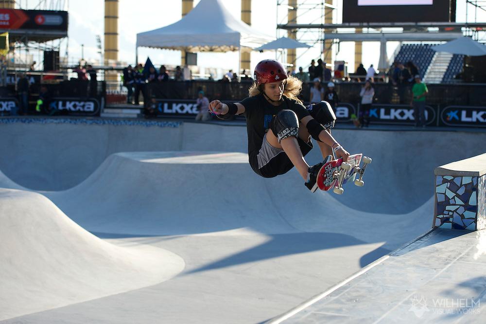 Alana Smith during Women's Skateboard Park Practice at the 2013 X Games Barcelona in Barcelona, Spain. ©Brett Wilhelm/ESPN