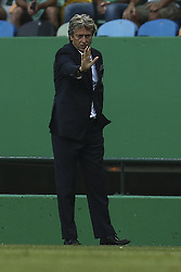 August 15, 2017 - Lisbon, Portugal - Sporting's coach Jorge Jesus gestures from the sideline during the UEFA Champions League  football match between Sporting CP and Steaua Bucuresti at Alvalade  Stadium in Lisbon on August 15, 2017. (Credit Image: © Carlos Costa/NurPhoto via ZUMA Press)