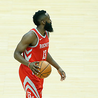 28 February 2018: Houston Rockets guard James Harden (13) brings the ball up court during the Houston Rockets 105-92 victory over the LA Clippers, at the Staples Center, Los Angeles, California, USA.