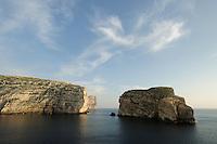 Fungus Rock, coastline at Dwejra, Gozo, Maltese Islands