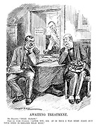 "Awaiting Treatment. Mr Baldwin. ""Next, please."" Peer (to Trade Unionist). ""After you, sir. It is true I was here first, but your need is greater than mine."" (cartoon showing a Trades Unionist and Lord waiting outside Stanley Baldwin's doctor's surgery of PAINLESS REFORM during the InterWar era)"