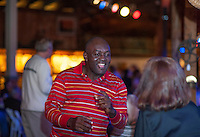 Dancing to Rosemary's Baby Blues at Pitman's Freight Room Friday evening. (Karen Bobotas/for the Laconia Daily Sun)