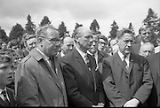 An Taoiseach Jack Lynch was at Bodenstown cemetery for the Fianna Fáil Wolfe Tone Commemoration ceremony. Picture shows D. Harris, member of the National Executive of Fianna Fail; An Taoiseach Jack Lynch; P.J. Rourke, Chairman of Dublin County Council; and Kevin Boland, Minister for Local Government. .23.06.1968