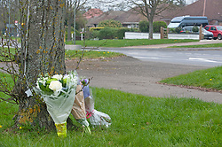 © Licensed to London News Pictures. 16/04/2019.<br /> Orpington, UK. Flowers and a balloon have been placed at the scene of Saturday nights RTC in which an Eleven year old boy was left critically injured in hospital. The car that hit the boy is believed to have left the scene but later returned. The drive was arrested.   Photo credit: Grant Falvey/LNP