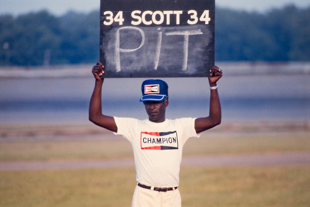 """Actor Cleavon Little on the set of """"Greased Lightning"""" - the story of the first African American NASCAR driver - Wendell Scott."""