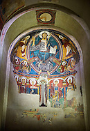 The Romanesque Apse of Sant Clement de Taull<br /> <br /> Around 1123, Romanesque frescoes from the Church of Sant Clement de Taull, Vall de Boi,Alta Ribagorca, Spain.<br /> <br /> National Art Museum of Catalonia, Barcelona. MNAC 15806, 15860, 15966, 15968, 22996<br /> <br /> <br /> Romanesque frescoes depicting Christ in Majesty *Pantocrator) in the upper Apse and the Virgin  Mary and the Apostles in the central register. .<br /> <br /> If you prefer you can also buy from our ALAMY PHOTO LIBRARY  Collection visit : https://www.alamy.com/portfolio/paul-williams-funkystock/romanesque-art-antiquities.html<br /> Type -     MNAC     - into the LOWER SEARCH WITHIN GALLERY box. Refine search by adding background colour, place, subject etc<br /> <br /> Visit our ROMANESQUE ART PHOTO COLLECTION for more   photos  to download or buy as prints https://funkystock.photoshelter.com/gallery-collection/Medieval-Romanesque-Art-Antiquities-Historic-Sites-Pictures-Images-of/C0000uYGQT94tY_Y