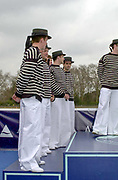 Putney. London.  2004 University Boat Race,  Championships Course, Putney to Mortlake. <br /> <br /> OUBC. in traditional kit for re enactment race <br /> [Mandatory Credit Peter SPURRIER]
