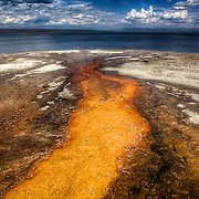 Mineral flow into Yellowstone Lake at Yellowstone National Park, Wyoming.