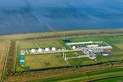 Nederland, Groningen, Gemeente Eemsmond, 04-11-2018; onshore lokatie van Noordgastransport, aanlandingspunt van aardgas zoals gewonnen op zee (continentaal plat). Op de lokatie wordt ook aardgascondensaat uit het gas gehaald en (tijdelijk) opgeslagen.<br /> Gas treatment and debarkation location.<br /> <br /> luchtfoto (toeslag op standaard tarieven);<br /> aerial photo (additional fee required);<br /> copyright © foto/photo Siebe Swart