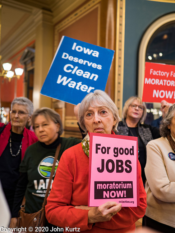 23 JANUARY 2020 - DES MOINES, IOWA: SHARON DONOVAN, from Clive, a suburb of Des Moines, at  a rally in the Iowa State Capitol against factory farms. About 75 people, including farmers, environmental activists, and supporters of family farms, came to a protest in the rotunda of the state capitol in Des Moines. They are trying to pressure Iowa lawmakers to pass a moratorium against new factory farm construction in Iowa.       PHOTO BY JACK KURTZ