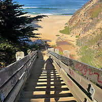 Wooden stairs lead down to the beach at Gray Whale Cove, near Half Moon Bay, Califoria.
