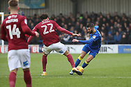 AFC Wimbledon defender George Francomb (7) taking on Northampton Town midfielder Matt Crooks (22) during the EFL Sky Bet League 1 match between AFC Wimbledon and Northampton Town at the Cherry Red Records Stadium, Kingston, England on 10 February 2018. Picture by Matthew Redman.