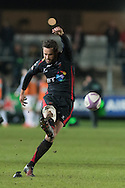 Nick Macleod of the Newport Gwent Dragons takes a penalty but misses the opportunity to take the lead. European Challenge cup pool 3 match, Newport Gwent Dragons v Brive, at Rodney Parade in Newport, South Wales on Friday 14th October 2016.<br /> pic by  Simon Latham, Andrew Orchard sports photography.