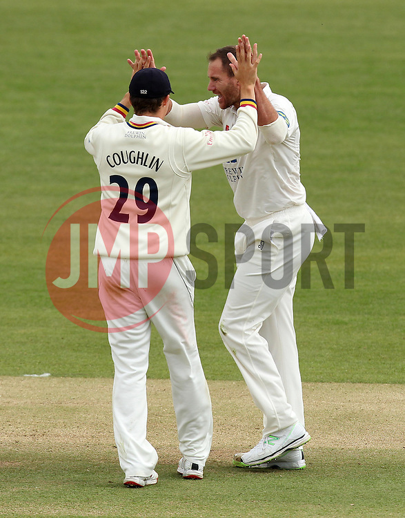 Durham's John Hastings celebrates with Durham's Paul Coughlin - Photo mandatory by-line: Robbie Stephenson/JMP - Mobile: 07966 386802 - 03/05/2015 - SPORT - Football - London - Lords  - Middlesex CCC v Durham CCC - County Championship Division One