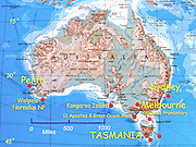 Physical geography map of Australia labeled with Sydney, Melbourne, Tasmania, Perth.