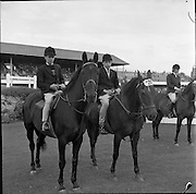"07/08/1962 <br /> 08/07/1962 <br /> 07 August 1962 <br /> Dublin Horse show at the RDS, Ballsbridge, Dublin, Tuesday. Among six sharing 1st place in Jumping Competition ""A"" (children) over a special course were, Brian Henry, Coleraine (left) on ""Tristan"" and Geogre Stewart of Lisburn on ""Shady Nook""."