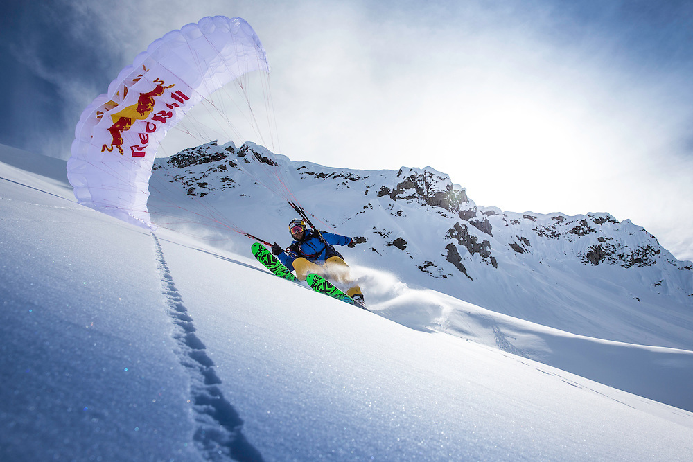 Andy Farington speed rides while filming for the Unrideables in the Tordrillo Mountains near Anchorage, Alaska on April 27th, 2014.