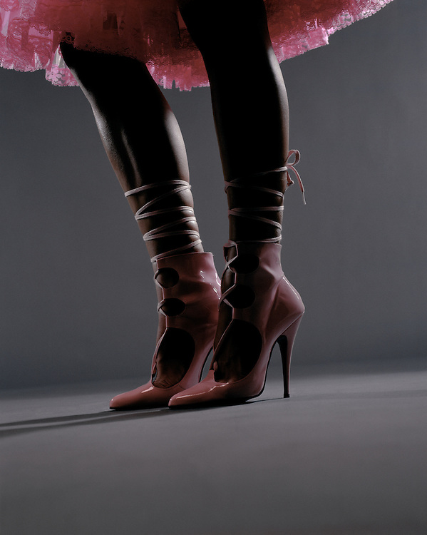 Close up of stilletto and legs and tutu